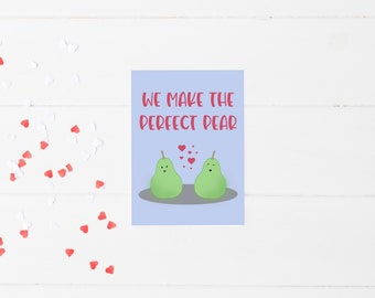 Perfect Pear Greeting Card | Punny Valentine | Food Pun Card