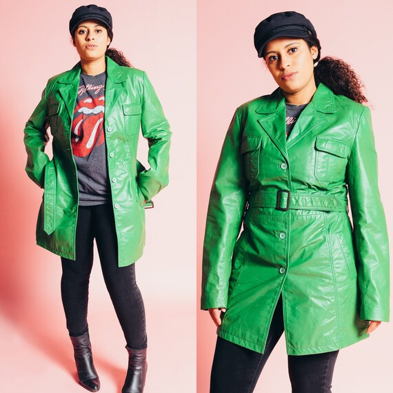 1970s Emerald Green Mod Leather Jacket with Belt -