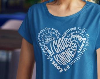 I Choose Kindness crew neck t-shirt | Love Tee | Positivity Gift | Girlfriend Gift | Heart Shape Tee | Positive Quote Shirt