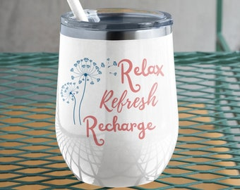 Relax Refresh Recharge 12oz Insulated Tumbler | Tumbler with Lid | Hot or Cold | BPA and Lead Free | Stainless Steel | Vacuum Insulation