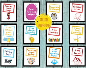Inspirational Growth Mindset Posters - Digital Classroom Decor