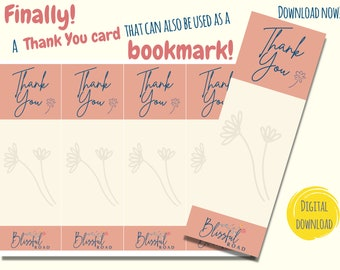 Digital Thank You Bookmark | Thank You Card | Downloadable Bookmark | Printable Thank You Card | Gratitude Bookmark