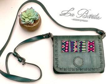 Hand  embroidered leather bag, handmade bag, finger embroidered bag, Mexican bag, handmade embroidered bag, crossbody bag, leather bag