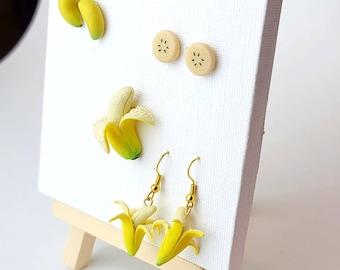Boho Warhol Studs Cute Studs Fruit Earrings Fun Studs Banana Studs Colorful Stud Earrings Funky Studs Porcelain Jewelry