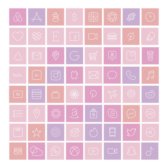 Pink Ios Icon Pack Aesthetic Iphone Ios 14 Pastels Custom Etsy