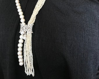 8 Strands Real Pearl Necklace Bridesmaids Gifts Multi Strand Pearl Necklacesilve Sand Pearl round pearl wedding gift women's jewelry