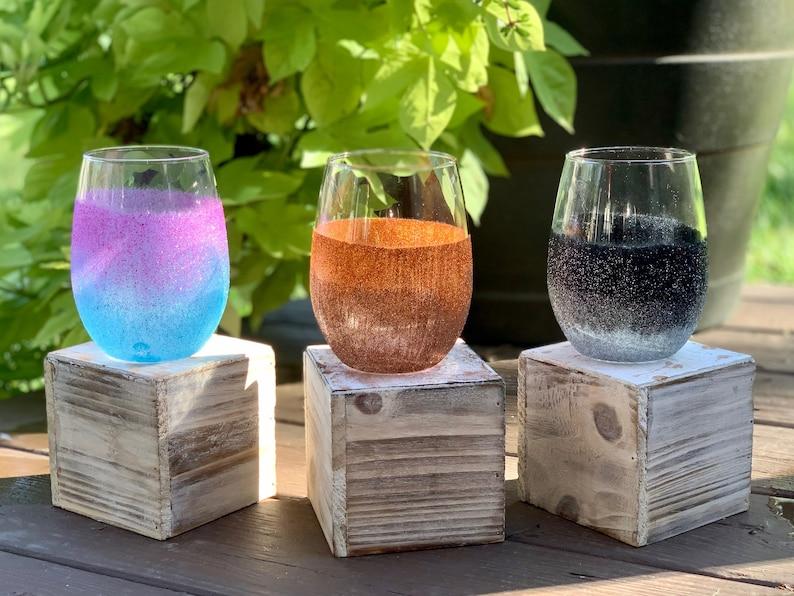 Glitter Wine Glass- Personalized Wine Glass Drinkware Barware Kitchenware Stemless Wine Glass
