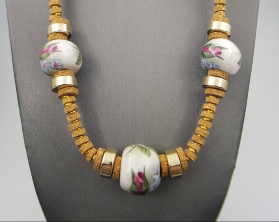 MIRIAM HASKELL Necklace - Cork and Porcelain Beads