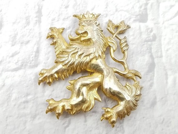 MIRIAM HASKELL Brooch – Vintage Coat of Arms Lion