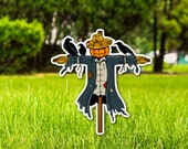 Decorative Fall Scarecrow Yard Sign Yard Card for Thanksgiving, Autumn, Halloween Yard Sign Supplier (Choose Size) With metal stake