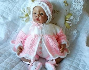 Baby Dolls Clothes knitting pattern, Chevron Matinee jacket set, Reborn Dolls 17, 22 inch, PDF Instant Digital Download