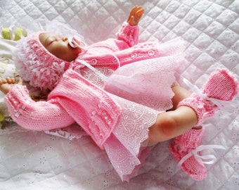 """Dolls Babygirls clothes Cardigan Lacey Bonnet, Bootees, infant girls clothes 0-3 Months-17-22"""" Reborn- Instant Download"""