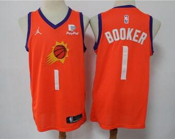 Maillot pour Homme Devin Booker # 1 Phoenix Suns r/étro Chemise de Basket-Ball brod/ée /ét/é Uniforme de Basket-Ball Swing Homme Jersey Gilet Respirant-White-M 175~180cm