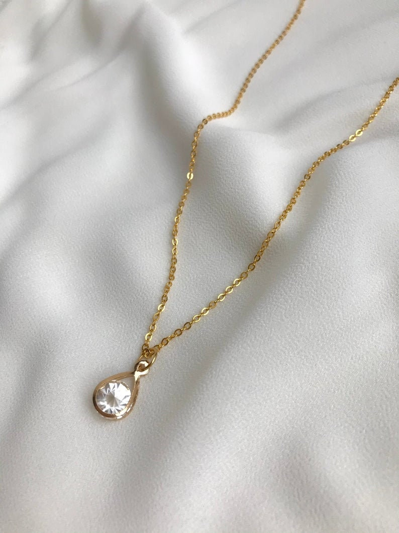 gold stone Necklace with pendant