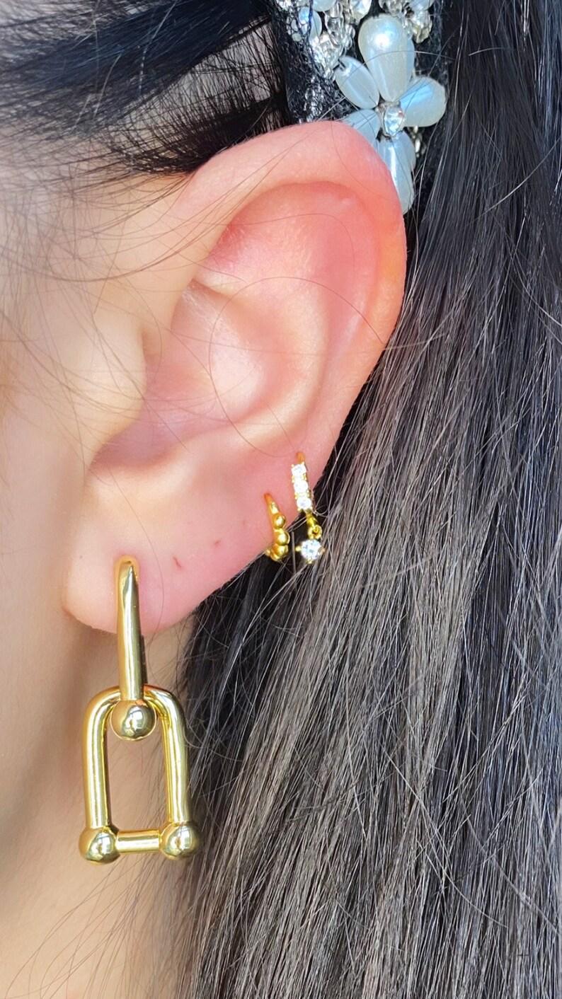 Trend bold earrings 925 Sterling Silver /& 18K Gold Waterproof Thick U Shape Hoop Earrings Chunky Chain Geometric Link Earrings