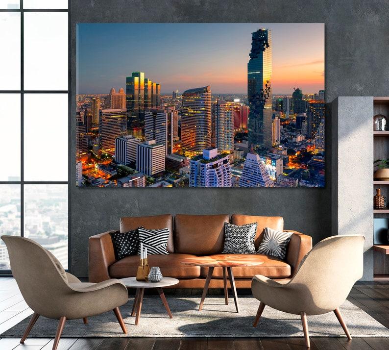 Aerial View Bangkok Large Canvas Art Modern Wall Decor