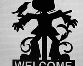 Personalized or Plain Scarecrow Fall or Halloween Metal Sign Or Yard Stake Sign - Can Be Weatherproof - Any Color - Free Shipping