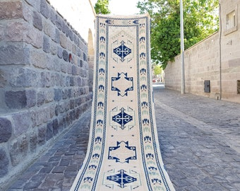 Persian Rug Turkish Rug  12 x 2.7 ft, Anatolian Rug, Vintage Rug,  Handmade Rug, Decorative Rug, Wool Rug, Number:B 779 Vintage Rug, Persian