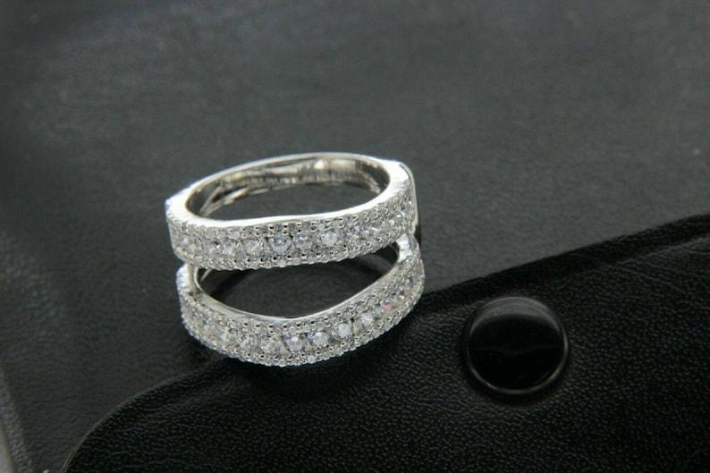 14k White Gold Over Enhancer Prongs Set Simulated Diamonds Ring Guard Wrap Jacket Silver