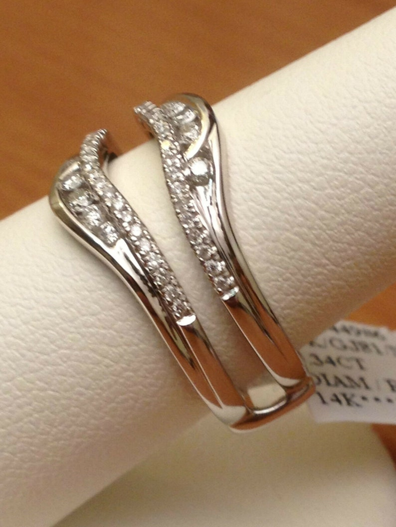 Solitaire Enhancer Round Simulated Diamonds Ring Guard Wrap 14k White Gold Finish Wedding Band Silver 1.05ct