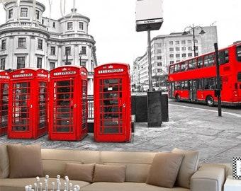 London Landmarks WALL MURAL Phone Booth England Wall Mural Large Wall Mural London Wallpaper Mural Self Adhesive Peel /& Stick Mural