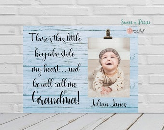 There's This Boy Who Stole My Heart Grandma Gift From Grandson Baby First Time Grandma Nana Gift Frame Christmas Gift Frame From Grandson