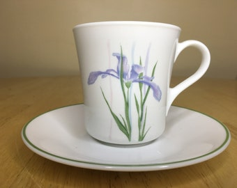 12 Pieces Cup and Saucer Fine Porcelain Set of 6 Cups and Matching Saucers  Colorful Iris flower Pattern with Platinum Rim