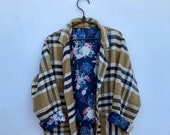 Moroccan vintage handmade beige and navy plaid inspired blanket coat with floral lining