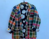 Moroccan vintage handmade plaid inspired blanket coat with daisy lining