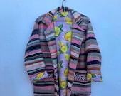Moroccan vintage handmade pink striped blanket coat with lemon print lining