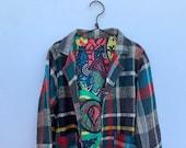 Moroccan handmade multicoloured 90s Vintage Plaid inspired blanket coat