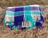 Moroccan vintage handwoven plaid blanket mixture of cotton and wool (blue, white, purple)