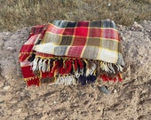 Moroccan vintage handwoven plaid blanket mixture of cotton and wool (red, brown, cream, black)