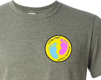 Little Feet Safety Systems LOGO graphic tee | LMA | Lawn Mower Accident Awareness | Gildan