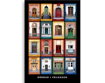 Dörrar i Fålhagen, Uppsala / Doors of Fålhagen, Uppsala, Sweden, Poster
