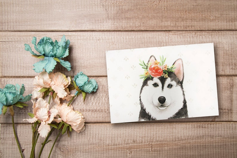 9 Pack Dogs with Flower Crown Designs Thank You Notes All Occasion Assorted Blank Greeting Cards with 4 x 6 Envelopes Included