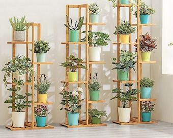 5 & 6 Tier Wood Plant Stand and Rack | Multi Shelved stand, great for flowers, indoor and outdoor plants