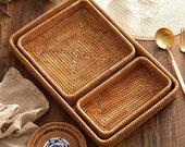 Rectangle Woven Wood Rattan Tray Fruit Basket