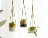 Set of 3 Hanging Concrete Planter Pots Hangers Outdoor Macrame Planter Basket Flower Pot Holder Cotton Rope Gold Cement Gray White Grey