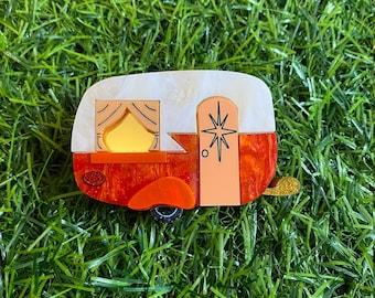 Orange Caravan Acrylic Brooch