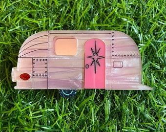 Pink Airstream Acrylic Brooch