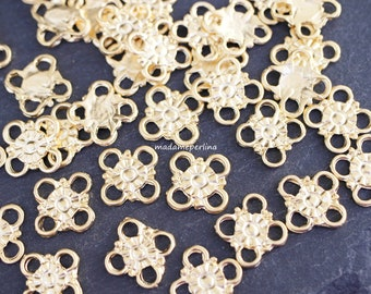 6  Bail Beads 24K Matte Gold plated charm pendant Holder link connectors fit for 4mm Turkish jewellery findings supplies  mdla0271A