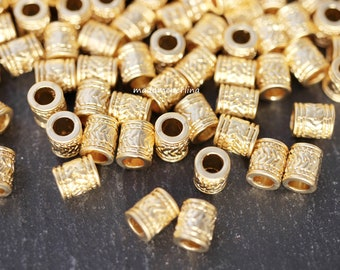 10  Spacer Beads 24k Matte Gold plated 5mm hole  Turkish jewellery craft findings supplies mdla0899A
