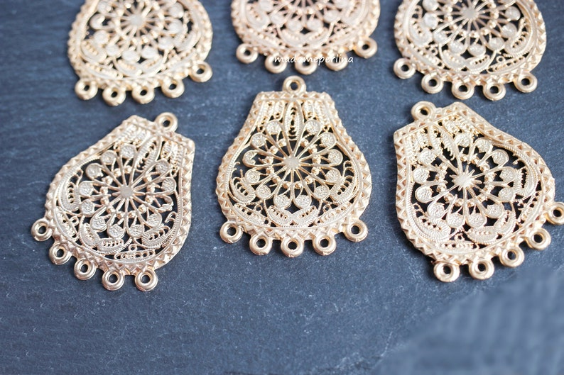 1  Chandelier Pendant connector 24k Matte Gold plated charms with 5 bails hoops Loop telkari filigree Turkish jewellery supplies mdla0505A