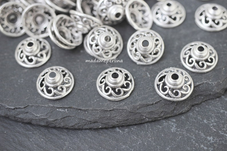 10   Bead Caps Silver Plated 12mm wide swirl helical Turkish jewellery making crafts supply mdla0754B