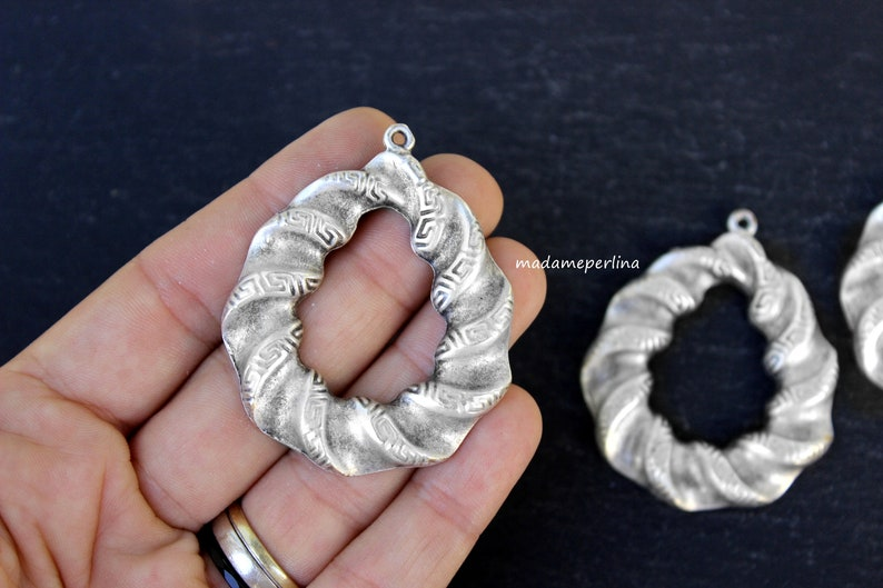 1   Twisted Hoop Pendant Matte Silver plated helical drop Turkish Jewellery crafts supply  mdla1161B