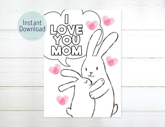 Rabbit Fingerprint Mother's Day Card Printable Coloring