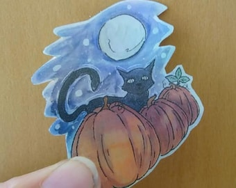 Halloween Holographic Stickers | Pumpkins | Cat at Midnight