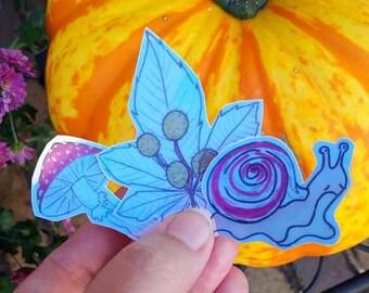 Fall 2021 3 sticker pack | Irridescent | Snail | Leaf | Mushroom