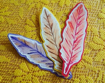 Colored Feathers | Cut Out Handmade Bookmarks